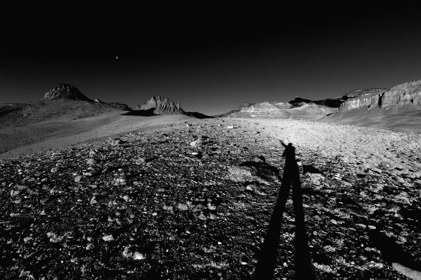 Bild in Patagonien mit Mars im Himmel.